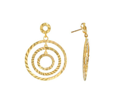 Dangle Earrings 14k Yellow Gold Round Circle Women's
