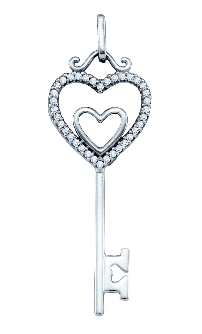 Diamond Heart Key Pendant Love Fashion 10k White Gold (0.10 ct.tw)