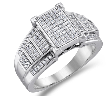 Womens Diamond Fashion Ring 10k White Gold Bridal Micro Pave (1/3 ctw)