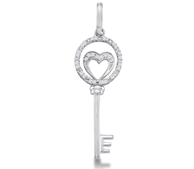 Diamond Key Pendant Heart Charm 10k White Gold (0.10 Carat)