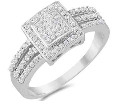 Micro Diamond Anniversary Ring 10k White Gold Bridal (1/4 Carat)