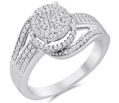Diamond Engagement Ring Micro Pave 10k White Gold Bridal (1/3 Carat)