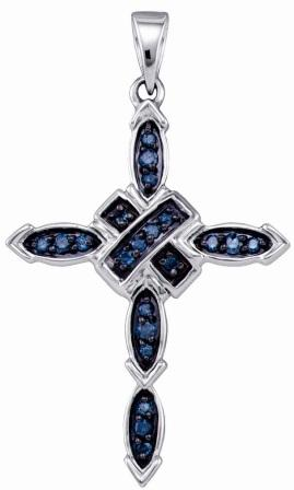 Aqua Blue Diamond Cross Pendant 10k White Gold Crucifix (1/5 Carat)