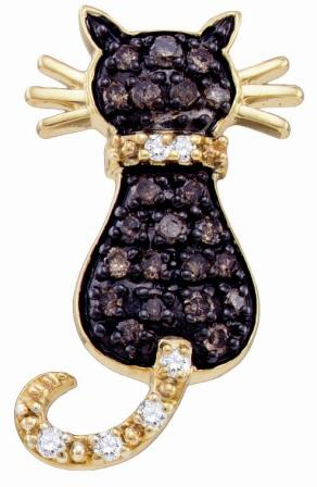 Chocolate Brown Diamond Cat Pendant 10k Yellow Gold Charm (1/3 Carat)