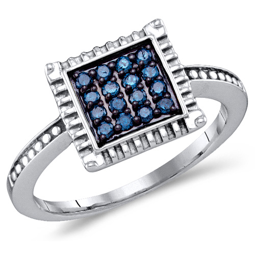Blue Diamond Square Ring Princess Fashion Band Sterling Silver (0.26 ct.tw)