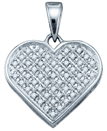 Diamond Heart Pendant Fashion Love Charm Sterling Silver (0.15ct)