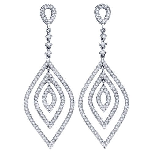 Diamond Tear Drop Dangle Fashion Earrings 14K White Gold (1.20 ct.tw.)
