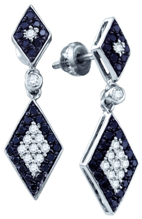 Black Diamond Dangle Earrings Drop Fashion 10k White Gold (2/3ct)