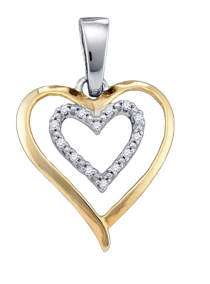 Diamond Two Heart Pendant Love Fashion Sterling Silver (0.05 ct.tw)