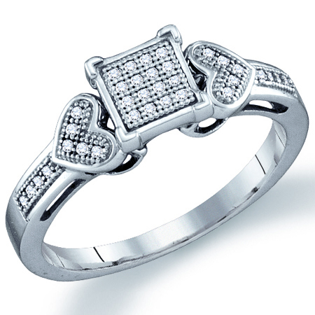 Diamond Promise Ring Heart Micro Pave Fashion Sterling Silver (0.10ct)