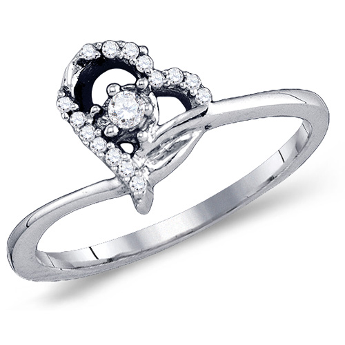 Diamond Solitaire Ring Heart Design Band Fashion 10k White Gold (0.11 ct.tw)