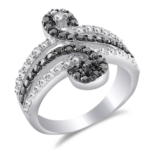 Black & White CZ Right-Hand Ring Fancy Band Sterling Silver (0.70 CTW)