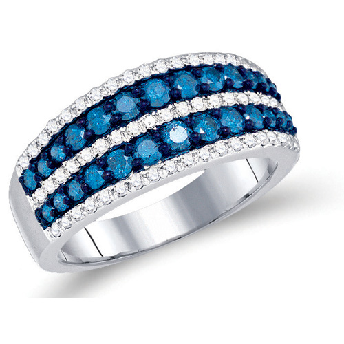 Blue and White Diamond Striped Fashion Ring 10K White Gold (1.10 ct.tw.)