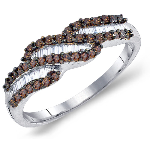 Brown & White Diamond Ring Baguette Band Right Hand Fashion Sterling Silver (0.48 ct.tw)