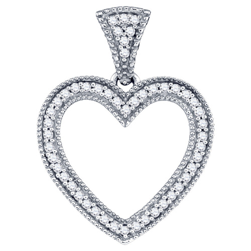 Diamond Heart Love Fashion Pendant 10K White Gold (0.15 ct.tw.)