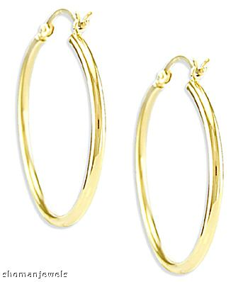 Hoop Earrings 14k Yellow Gold Classic Large 1.00 inch