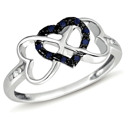 Black Diamond Three Heart Ring Love Fashion BandSterling Silver (0.10 ct.tw)