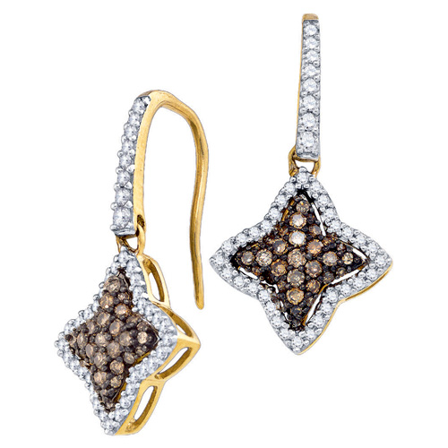 Brown Diamond Star Shaped Fashion Earrings 10K Yellow Gold (0.63 ct.tw.)