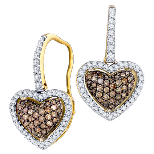 Brown Diamond Heart Shaped Fashion Earrings 10K Yellow Gold (0.58 ct.tw.)