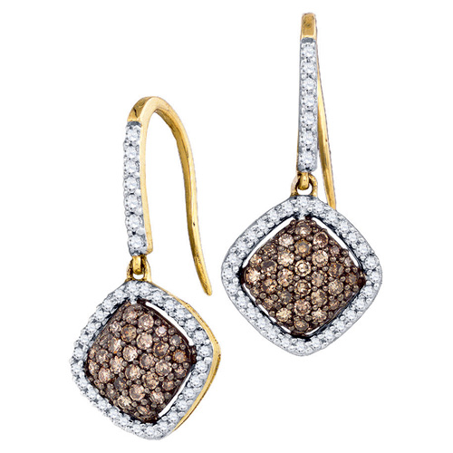 Brown Diamond Dangle Fashion Earrings 10K Yellow Gold (0.62 ct.tw.)