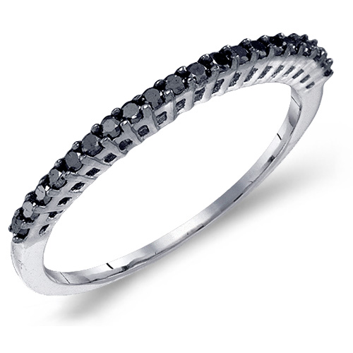Black Diamond Ring Right Hand Band Fashion 10k White Gold (0.25 ct.tw)