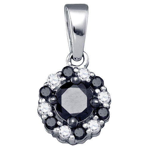 Black & White Diamond Pendant Solitaire Flower Fashion 10k White Gold (0.51 ct.tw)