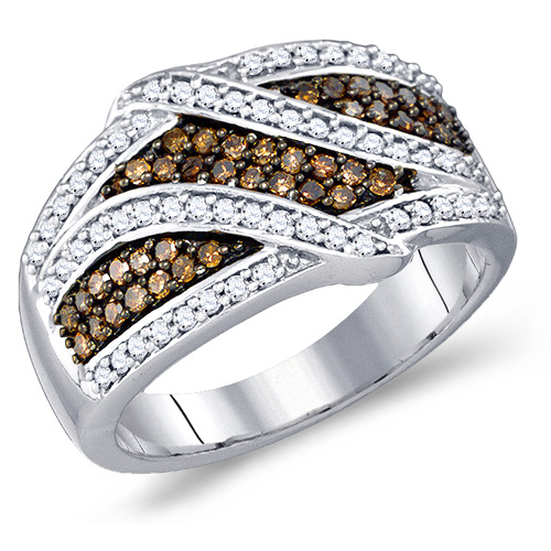 Brown & White Diamond Ring Right Hand Band Fashion 10k Yellow Gold (0.70 ct.tw)