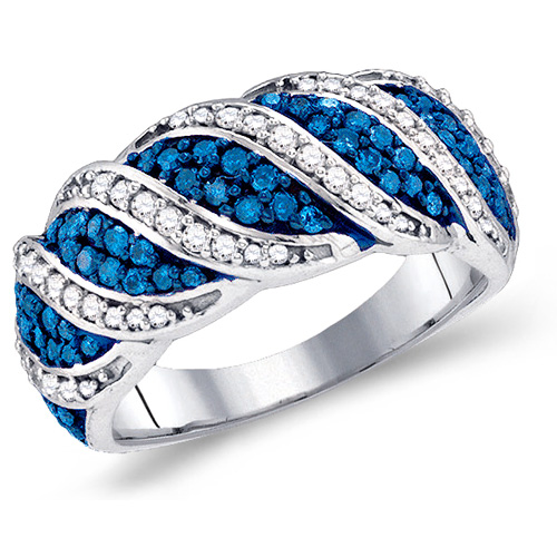 Blue & White Diamond Ring Right Hand Band Fashion 10k White Gold (0.76 ct.tw)