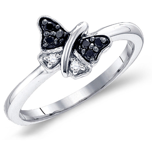 Black & White Diamond Ring Butterfly Band Right Hand Fashion Sterling Silver (0.11 ct.tw)