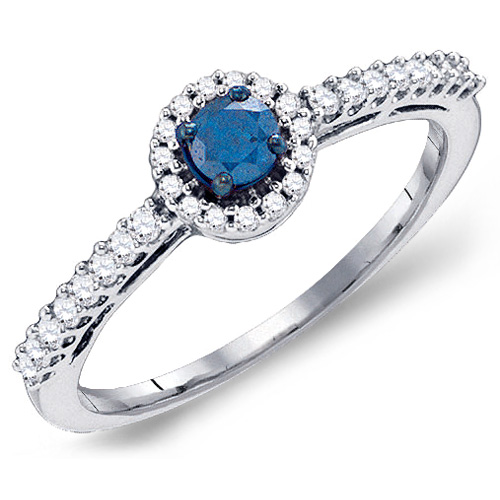 Blue & White Diamond Solitaire Ring Hallow with Side Stones Band 10k White Gold (0.42 ct.tw)