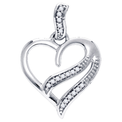 Diamond Pendant Heart Shaped Love Fashion Sterling Silver (0.05 ct.tw)