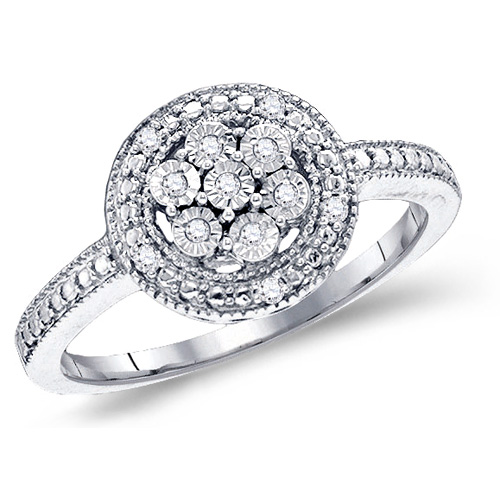Diamond Ring Engagement Flower Design Band Hallow with Side Stones Sterling Silver (0.12 ct.tw)