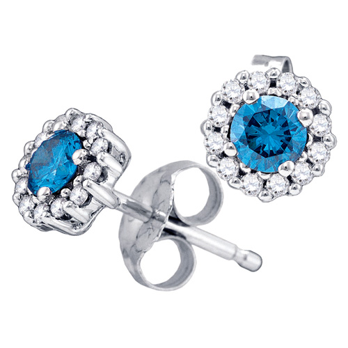 Blue & White Diamond Earrings Solitaire Studs Flower Fashion 10k White Gold (0.52 ct.tw)