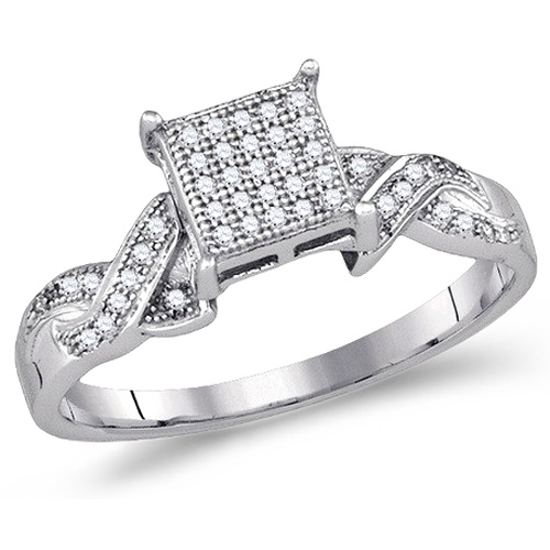 Diamond Engagement Ring Anniversary Square Band Micro Pave Sterling Silver (0.15 ct.tw)