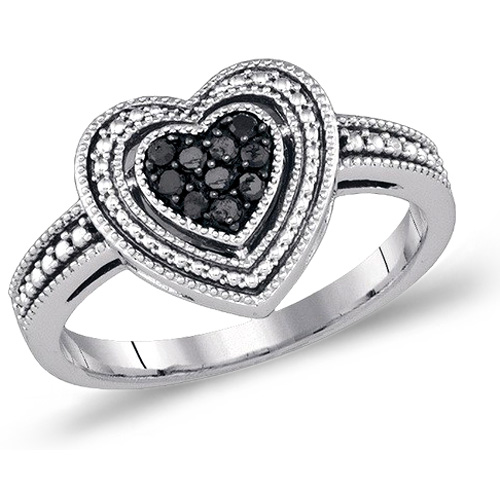 Black Diamond Heart Fashion Ring Love Band Sterling Silver (0.27 ct.tw)