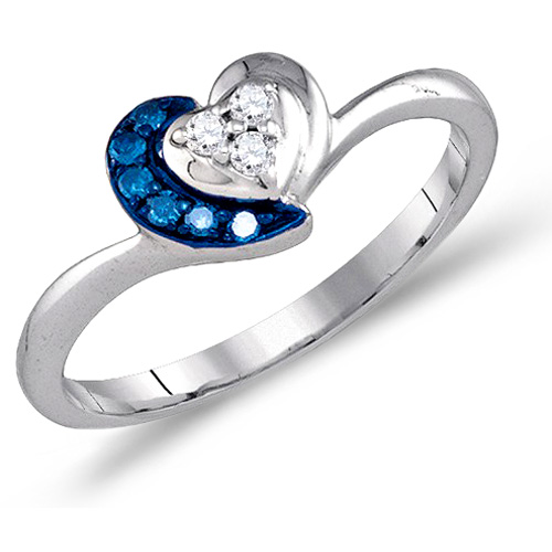 Blue Diamond Heart Ring FashionBand Aqua Sterling Silver (0.12 ct.tw)