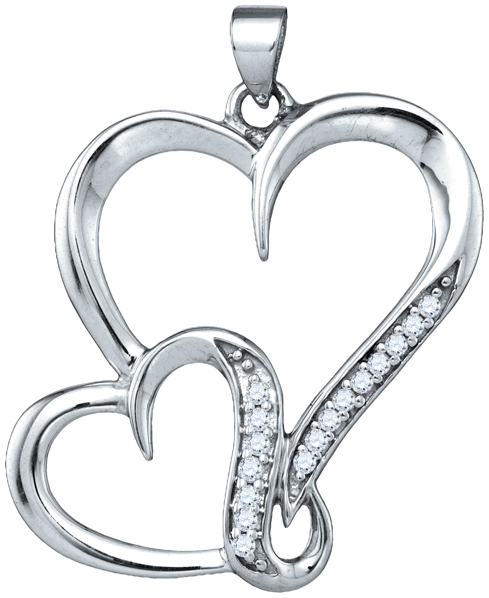 Diamond Two Heart Pendant Double Love Fashion Sterling Silver (0.10 ct.tw)