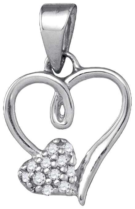 Diamond Two Heart Pendant Double Love Fashion Sterling Silver (0.05 ct.tw)