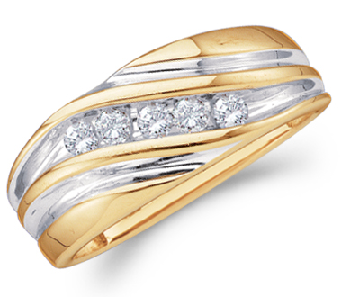 Mens Diamond Wedding Band 14k Yellow Gold Engagement Ring (1/4 Carat)