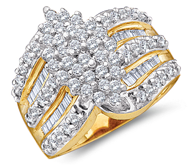 Diamond Cluster Ring Womens Anniversary 10k Yellow Gold (1.02 Carat)