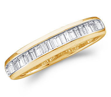 Baguette Diamond Wedding Ring 10k Yellow Gold Anniversary Band (1/4ct)
