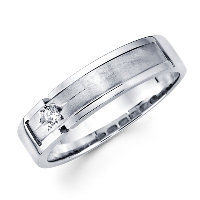 Mens Solitaire Diamond Wedding Band 14k White Gold Ring (0.05 Carat)