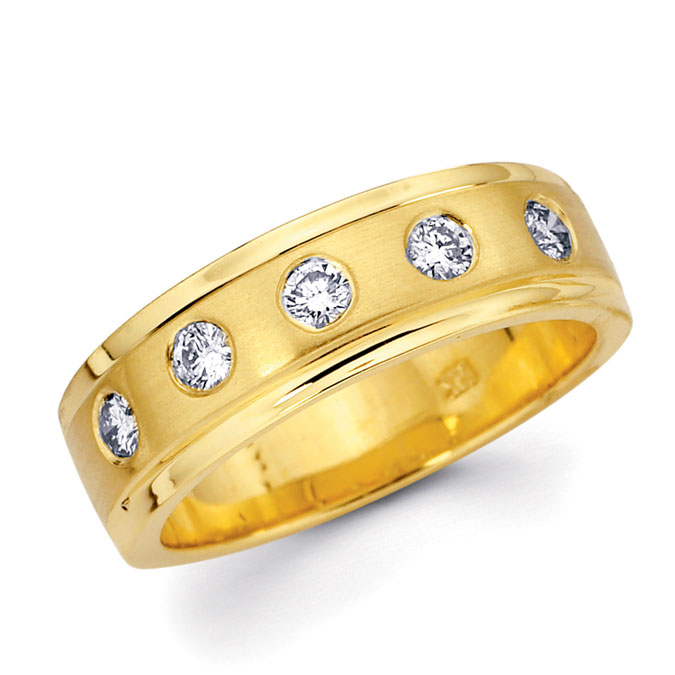 Diamond Wedding Ring 14k Yellow Gold Anniversary Band (1/3 CTW)