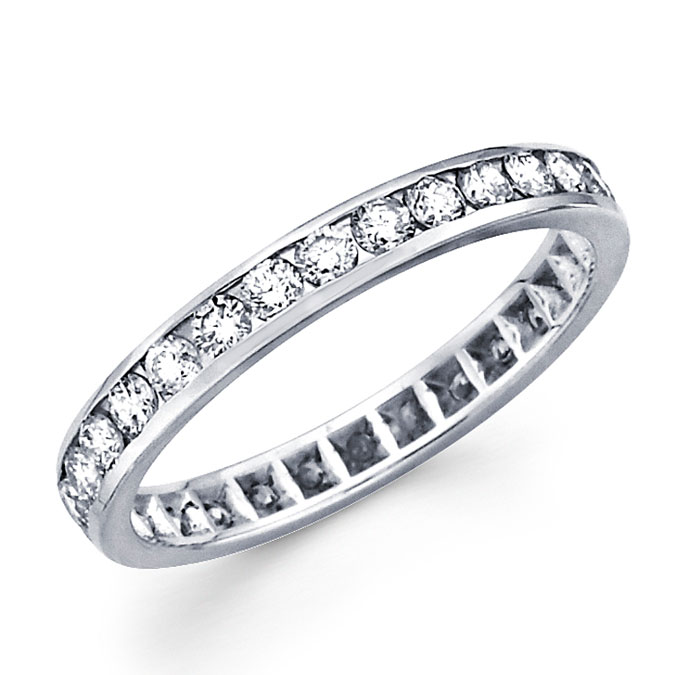 Round Diamond Eternity Ring 14k White Gold Anniversary Band (0.97 CTW)
