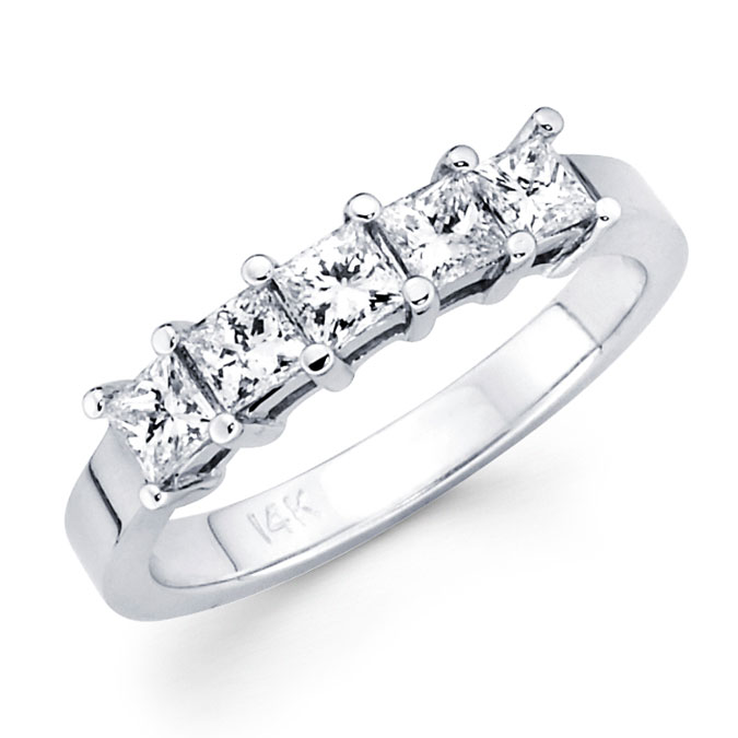 5 Stone Princess Diamond Wedding Ring 14k White Gold Band (1/2 Carat)