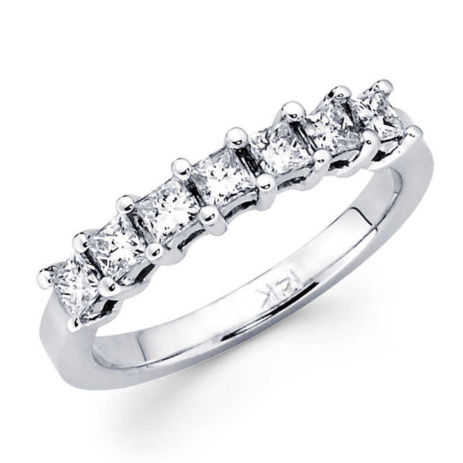 Princess Diamond Wedding Ring 14k White Gold Anniversary Band (3/4 CT)