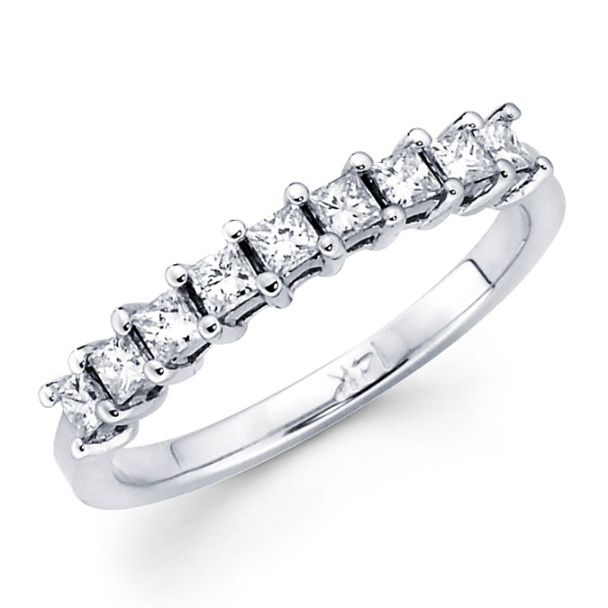 Princess Diamond Anniversary Ring 14k White Gold Wedding Band (0.92ct)
