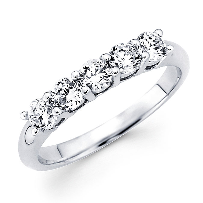 Round Diamond Anniversary Ring 14k White Gold Wedding Band (3/4 Carat)