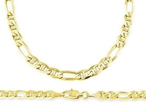 Figaro 14k Yellow Gold Gucci Link Bracelet Solid 6mm 8 inches
