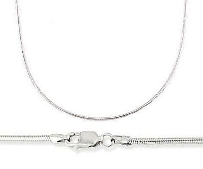 14k White Gold Necklace Snake Chain Solid Mens Womens 1 mm -  16,18,20 Inch